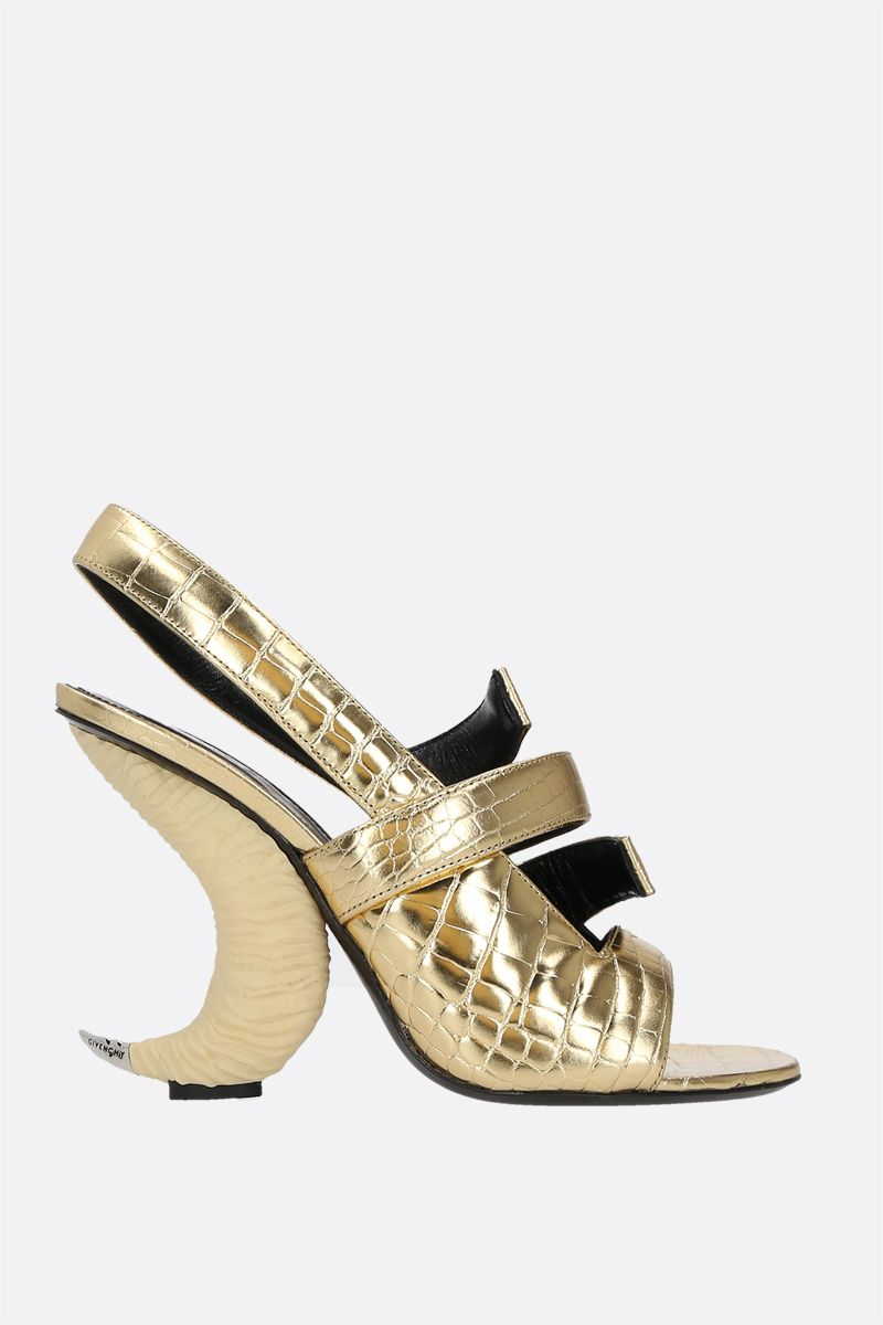 GIVENCHY: horn heel crocodile embossed leather sandals Color Gold_1