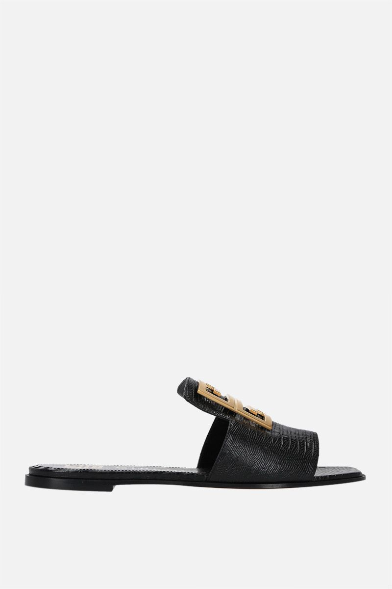 GIVENCHY: sandalo flat 4G in pelle stampa lucertola Colore Nero_1