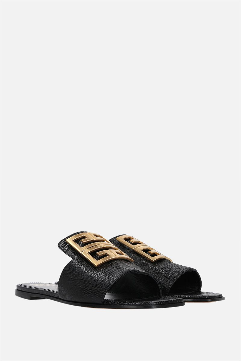 GIVENCHY: sandalo flat 4G in pelle stampa lucertola Colore Nero_2