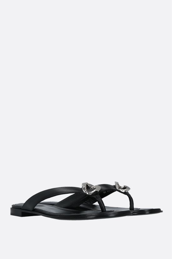 GIVENCHY: G Chain nappa thong sandals Color Black_2