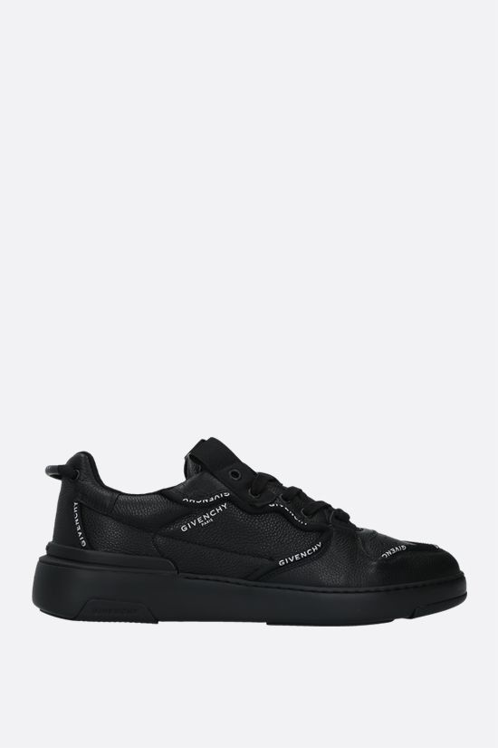 GIVENCHY: Wing grainy leather low-top sneakers Color Black_1