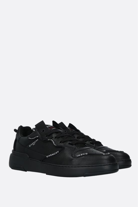 GIVENCHY: Wing grainy leather low-top sneakers Color Black_2
