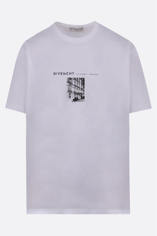 GIVENCHY: t-shirt in cotone stampa Adresse Givenchy Colore Bianco_1