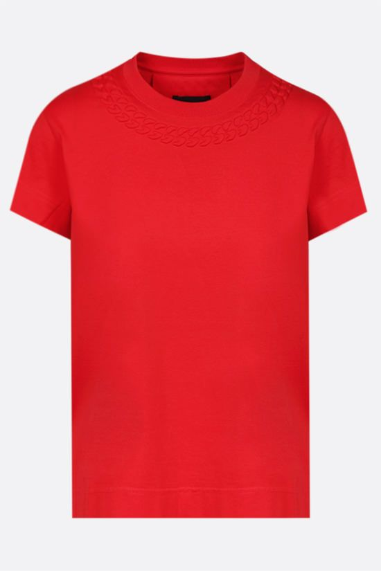 GIVENCHY: embossed chain collar cotton t-shirt Color Red_1