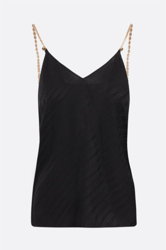 GIVENCHY: top Givenchy Chaine in seta Colore Nero_1
