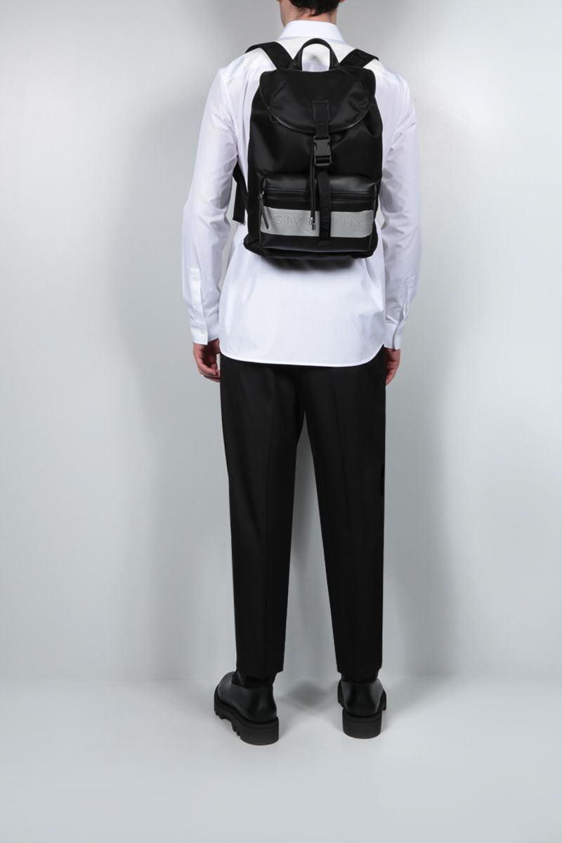 GIVENCHY: Light 3 nylon and smooth leather backpack Color Black_2