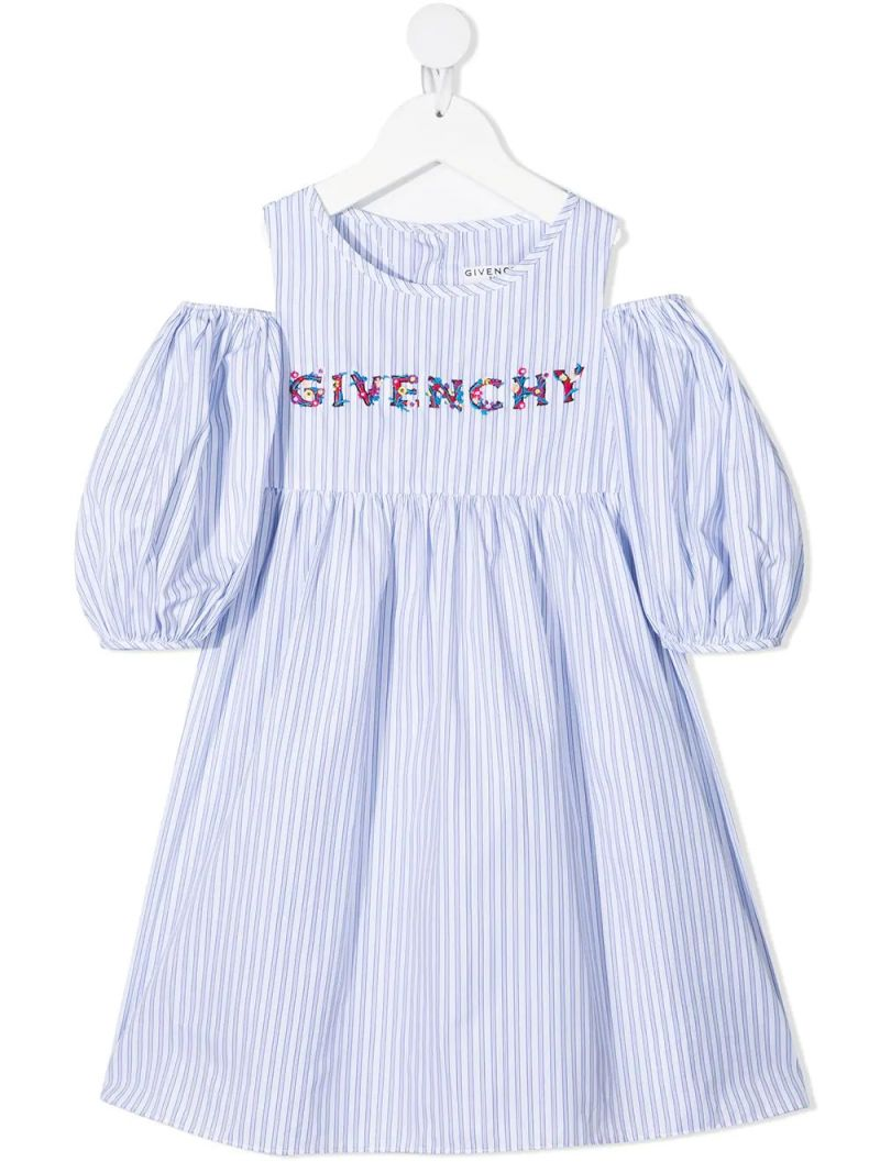 GIVENCHY KIDS: logo-embroidered striped cotton dress Color White_1