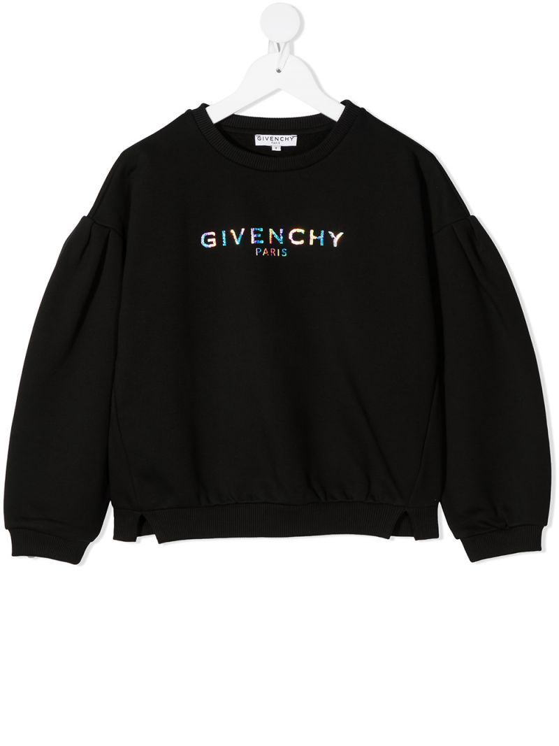 GIVENCHY KIDS: Givenchy Paris print jersey sweatshirt Color Black_1
