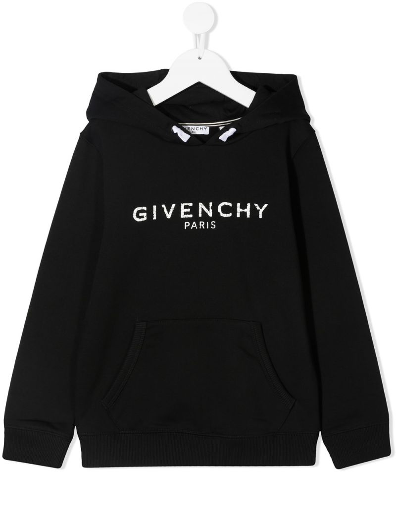 GIVENCHY KIDS: Givenchy Paris print jersey hoodie Color Black_1