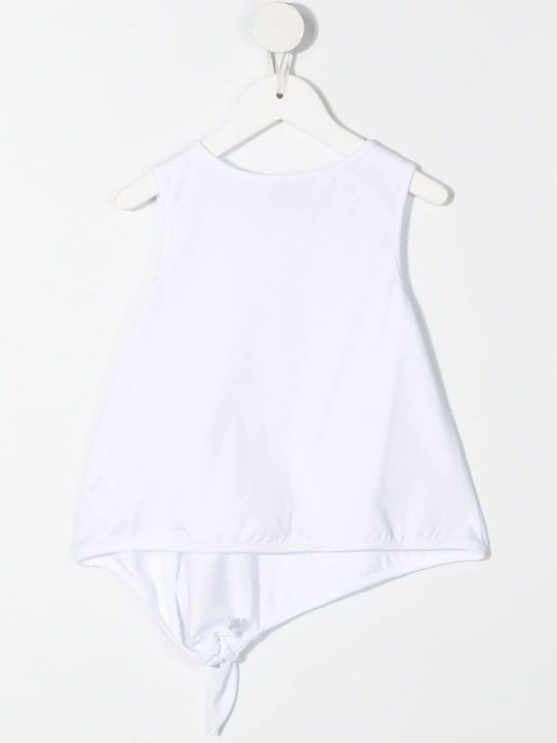 GIVENCHY KIDS: logo print stretch cotton top Color White_2
