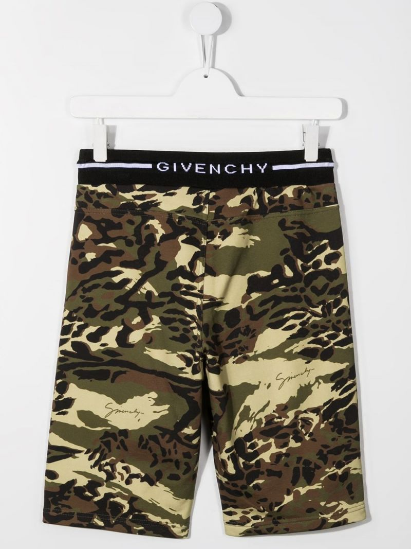 GIVENCHY KIDS: camouflage print jersey shorts Color Brown_2