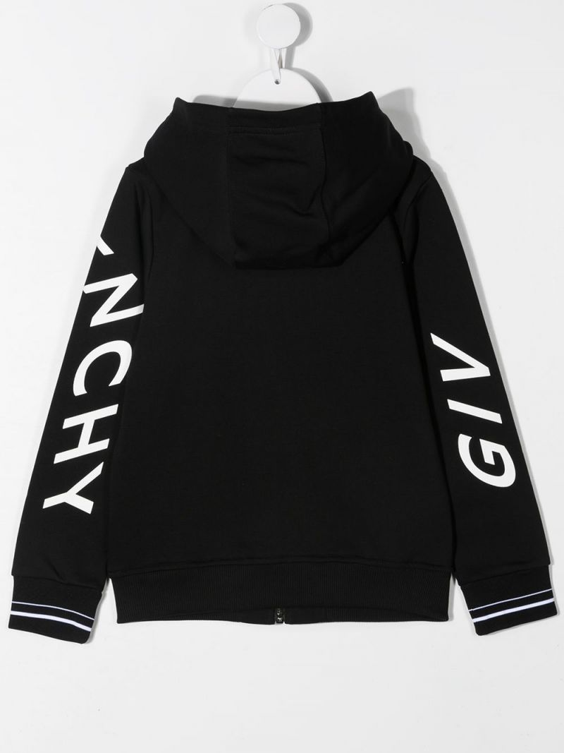 GIVENCHY KIDS: Givenchy Refracted jersey full-zip hoodie Color Black_2