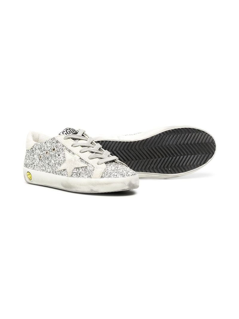 GOLDEN GOOSE DELUXE BRAND KIDS: Superstar glitter and suede sneakers Color Silver_2