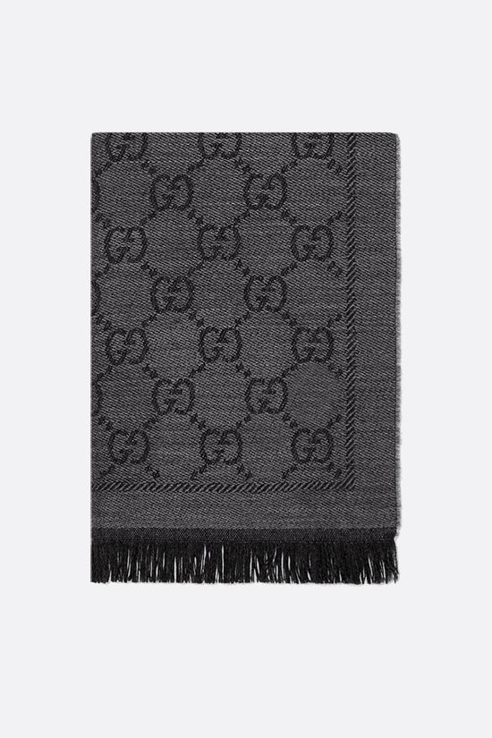 GUCCI: GG wool jacquard scarf Color Grey_1