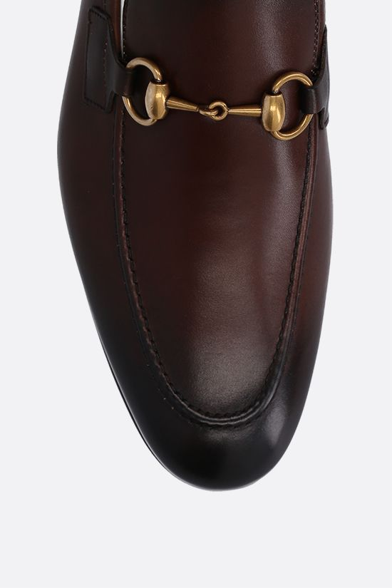 GUCCI: Jordan shiny leather loafers Color Brown_4