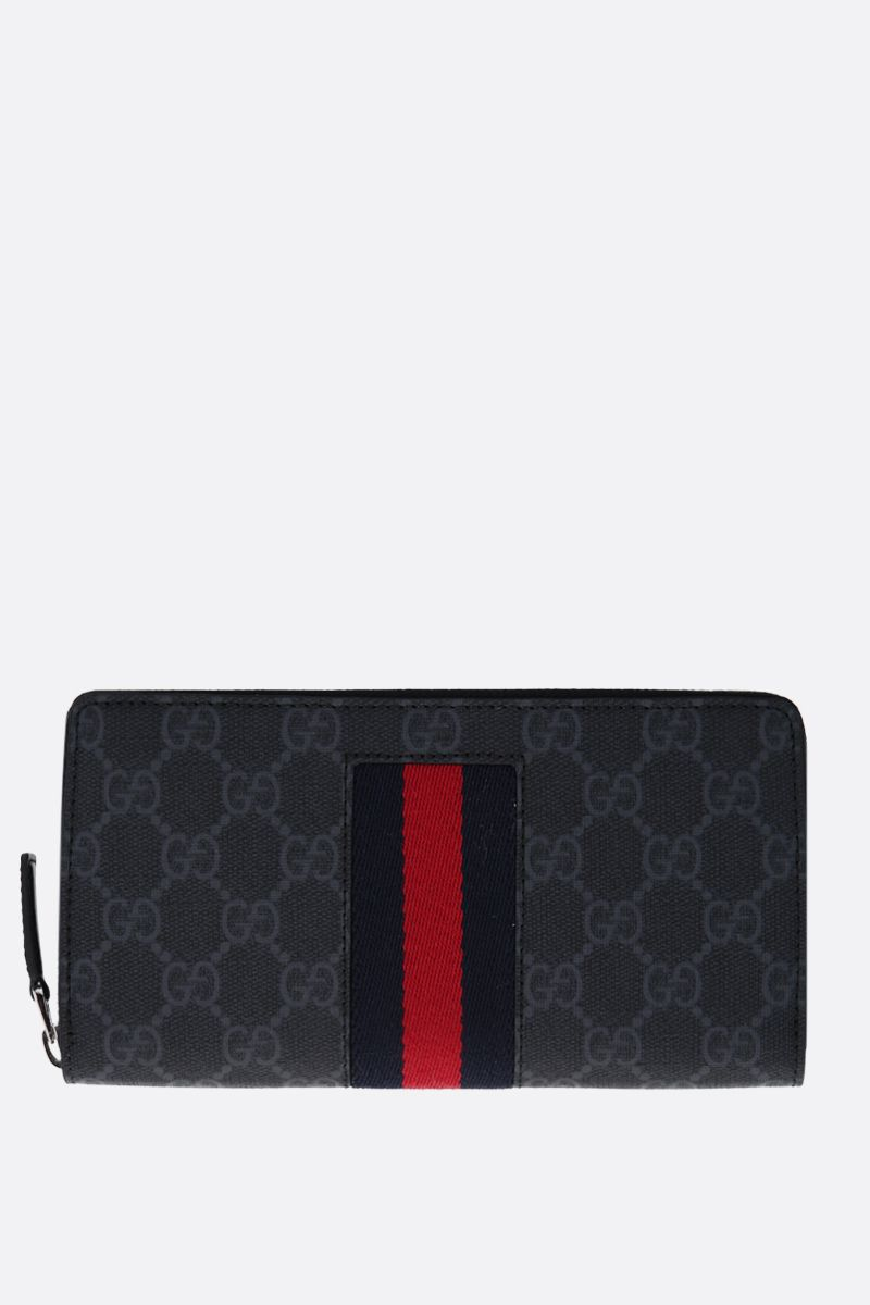 GUCCI: GG Supreme canvas zip-around wallet Color Black_1