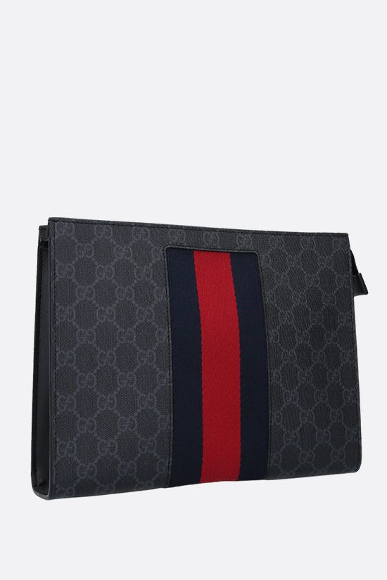 GUCCI: GG Supreme canvas pouch Color Black_2