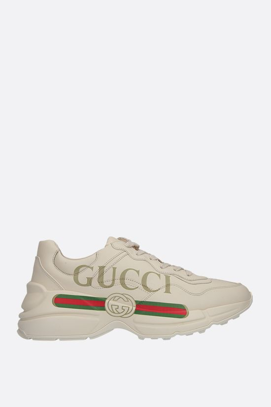 GUCCI: Rhyton smooth leather sneakers Color White_1