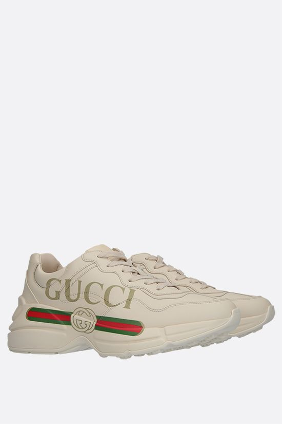 GUCCI: Rhyton smooth leather sneakers Color White_2