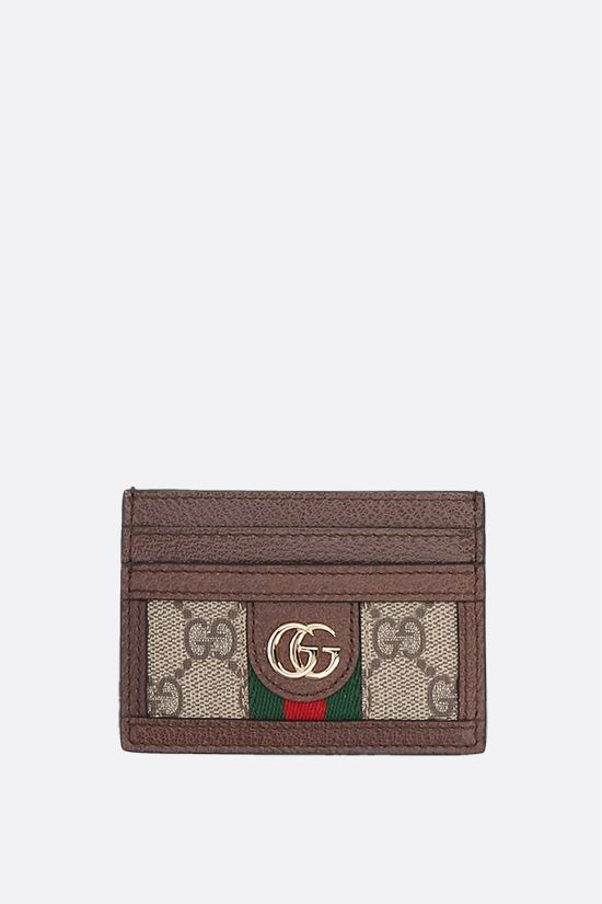 GUCCI: GG Supreme canvas and leather card case Color Brown_1