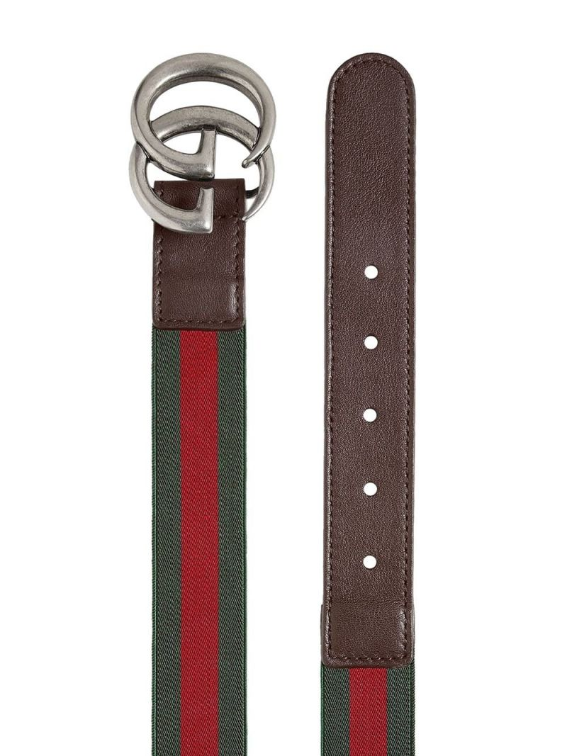 GUCCI CHILDREN: Web elasticated ribobn belt Color Brown_2