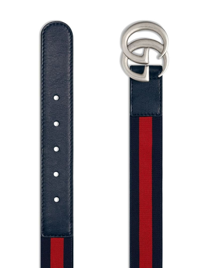 GUCCI CHILDREN: smooth leather and elastic Web belt Color Blue_2