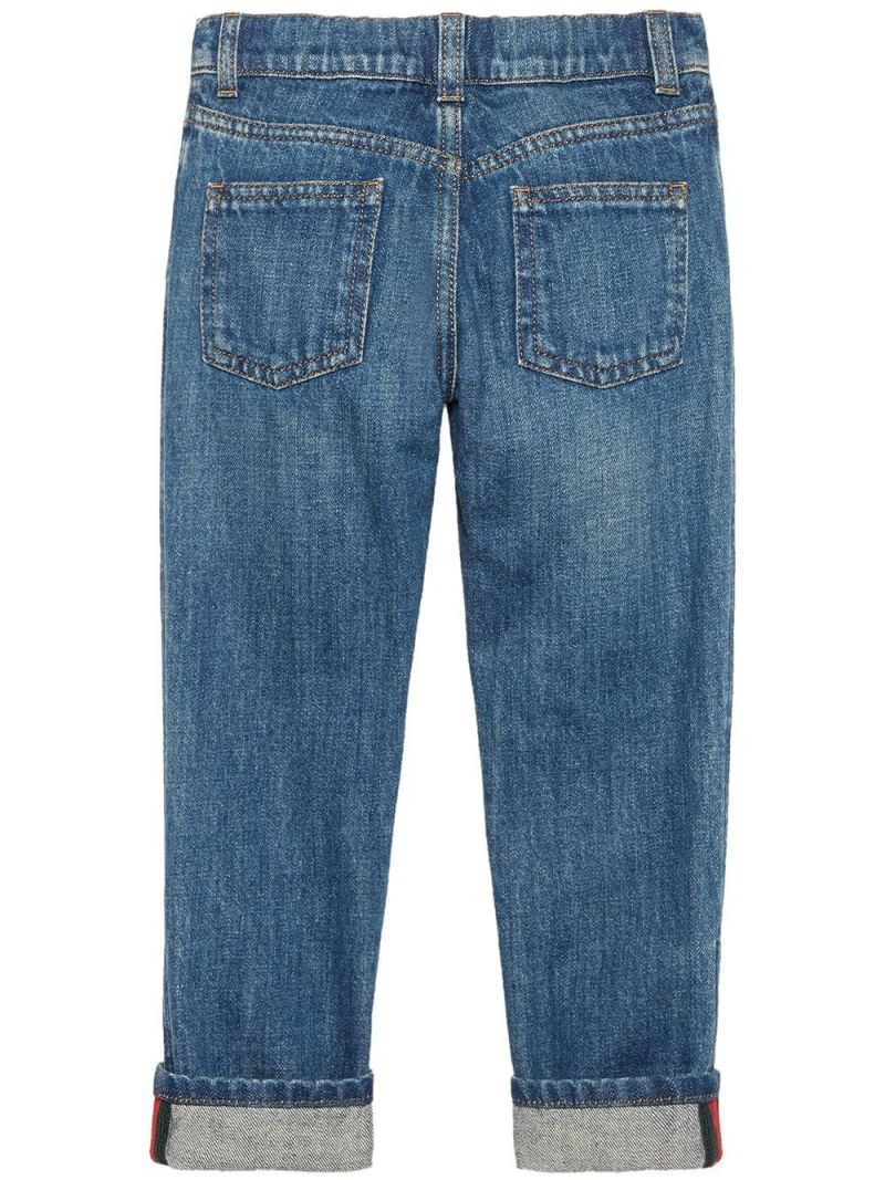GUCCI CHILDREN: Web-detailed straight-fit jeans Color Multicolor_2