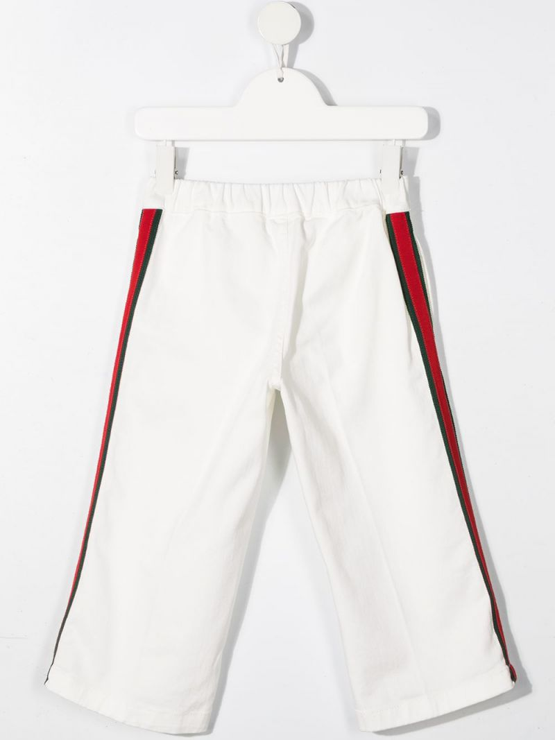 GUCCI CHILDREN: Web-detailed stretch cotton pants Color White_2
