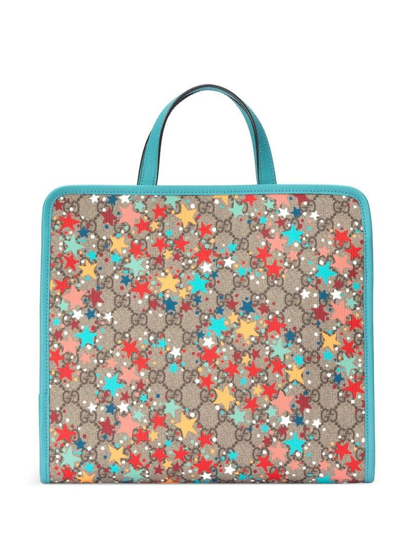 GUCCI CHILDREN: stars print GG Supreme canvas handbag Color Multicolor_2