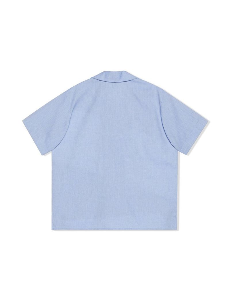 GUCCI CHILDREN: Oxford cotton bowling shirt Color Blue_2