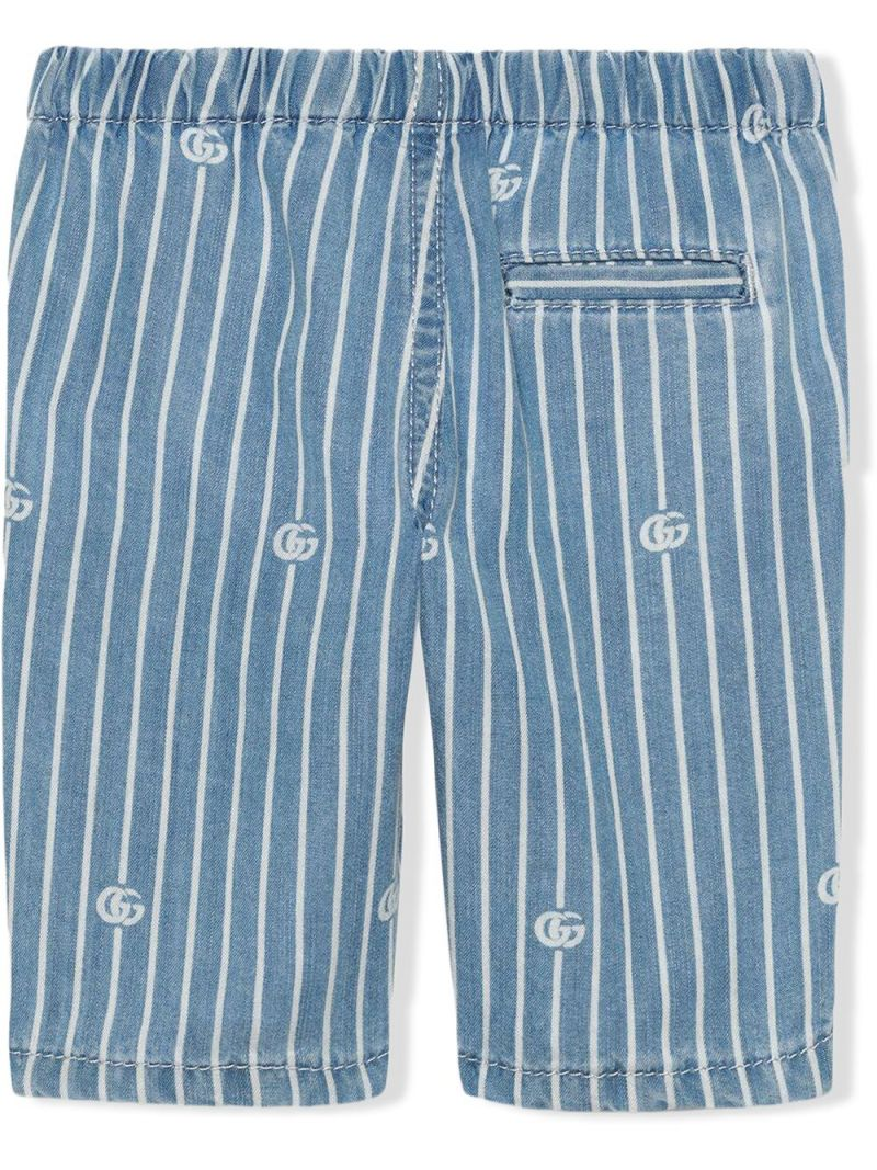 GUCCI CHILDREN: GG stripe lyocell shorts Color Blue_2