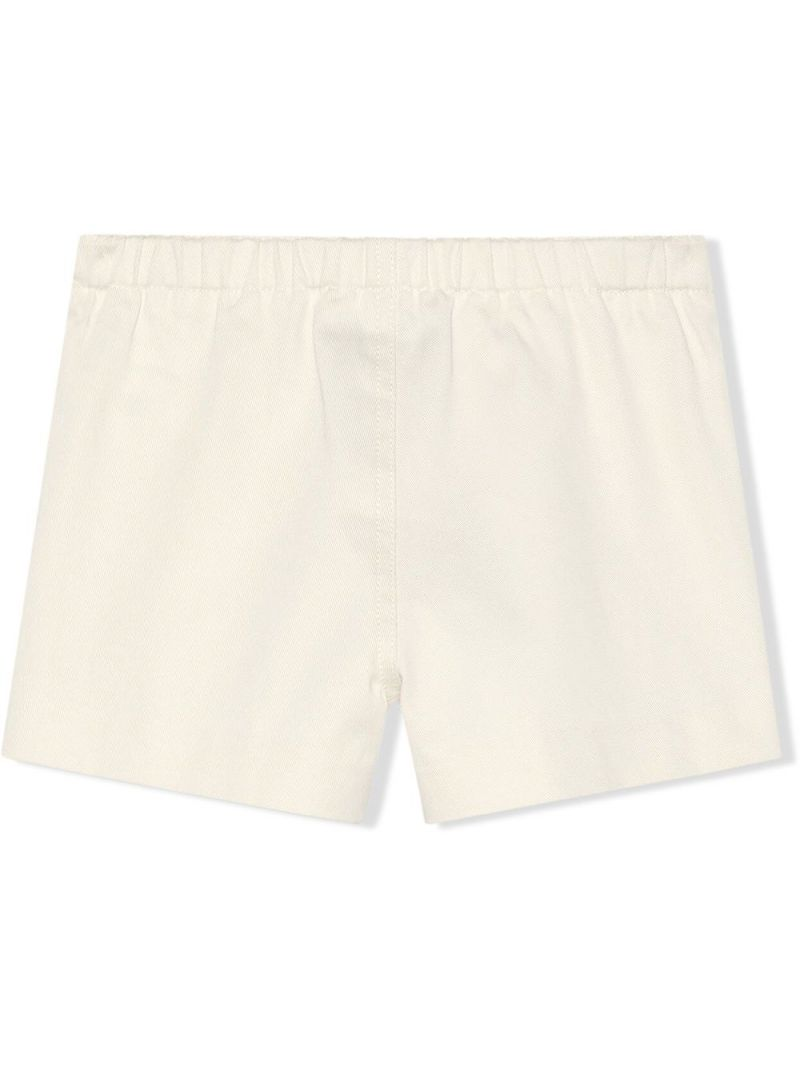 GUCCI CHILDREN: fawn-embroidered stretch cotton shorts Color White_2
