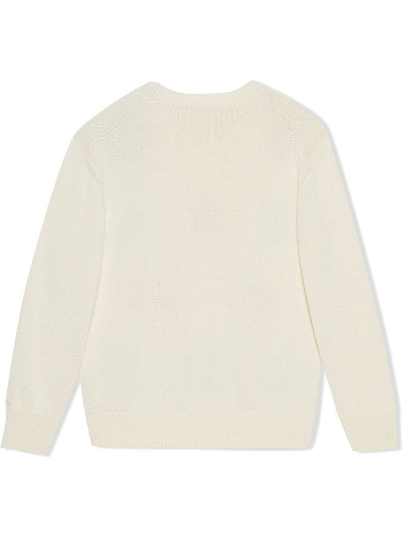 GUCCI CHILDREN: symbols intarsia cotton pullover Color White_2