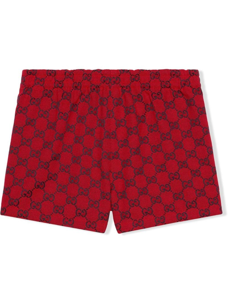 GUCCI CHILDREN: GG technical cotton shorts Color Red_2