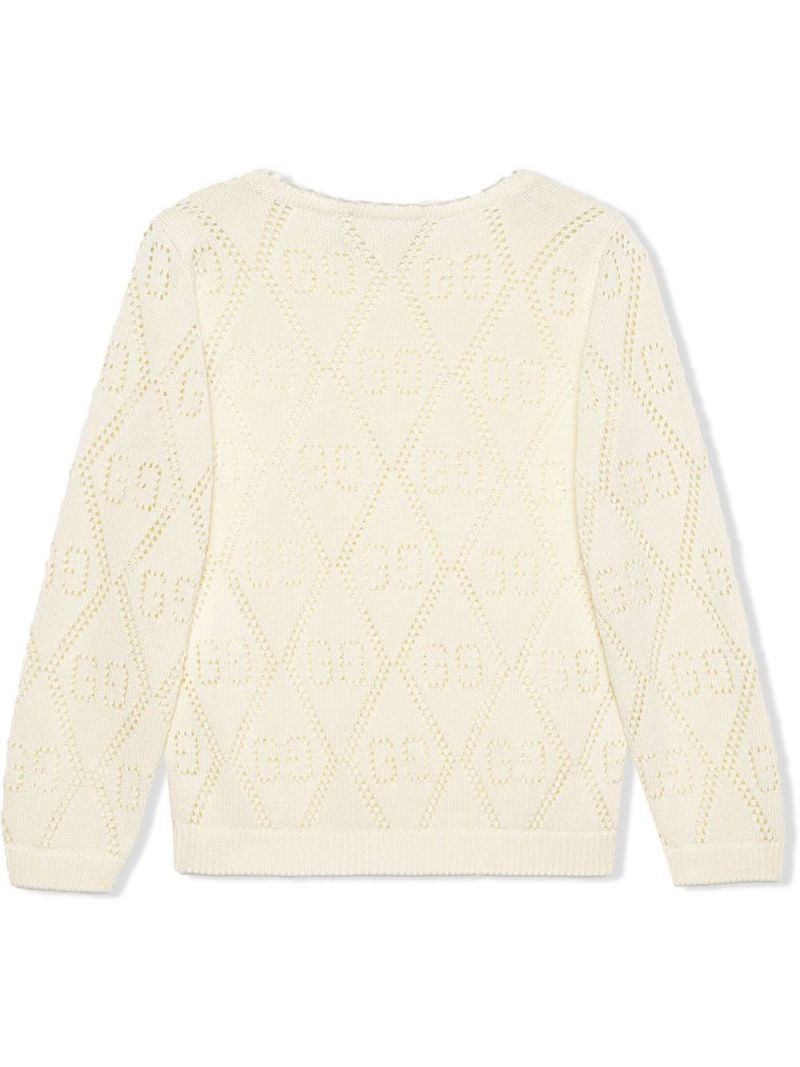 GUCCI CHILDREN: GG perforated knit cotton pullover Color White_2