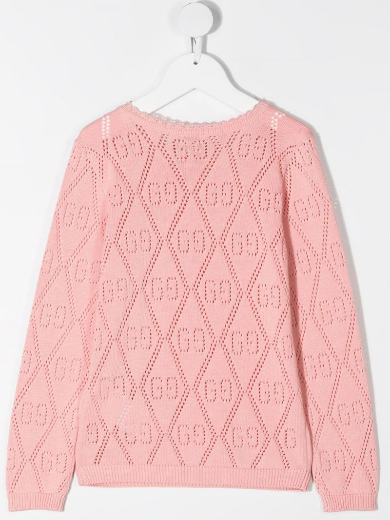 GUCCI CHILDREN: GG perforated knit pullover Color Pink_2