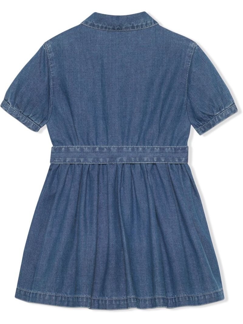GUCCI CHILDREN: Interlocking G buckle-detailed denim dress Color Blue_2