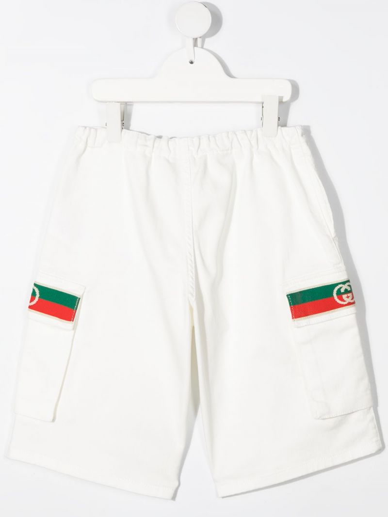 GUCCI CHILDREN: Web-detailed stretch cotton shorts Color White_2