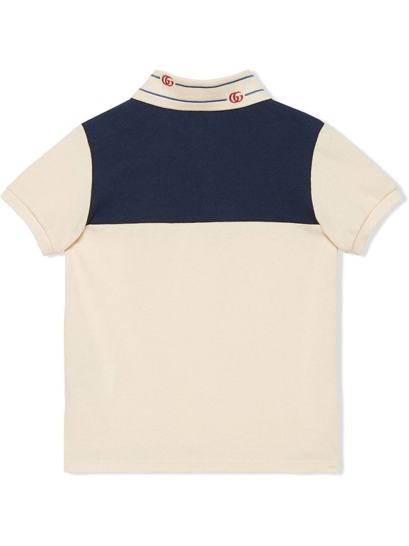GUCCI CHILDREN: Double G-embroidered stretch cotton polo shirt Color Multicolor_2