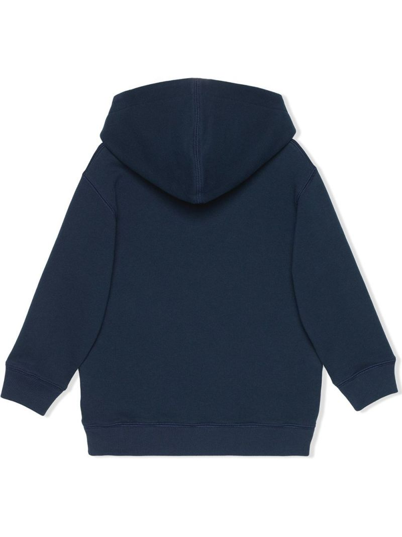 GUCCI CHILDREN: Gucci disk print cotton hoodie Color Blue_2