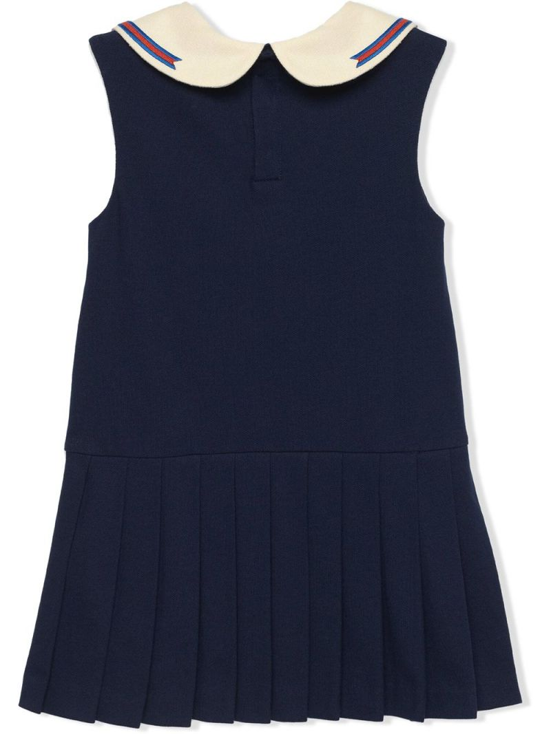 GUCCI CHILDREN: short cotton dress with Web and Interlocking G Color Blue_2