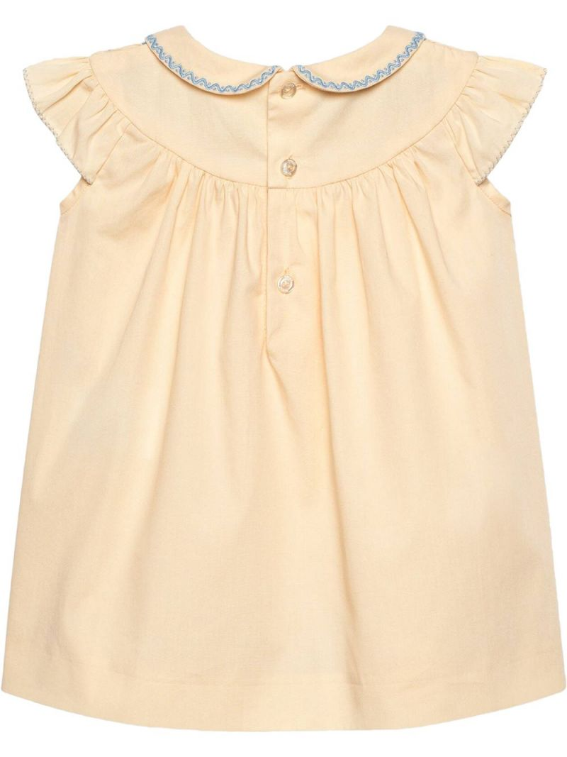 GUCCI CHILDREN: G Rhombus-embroidered poplin short dress Color White_2