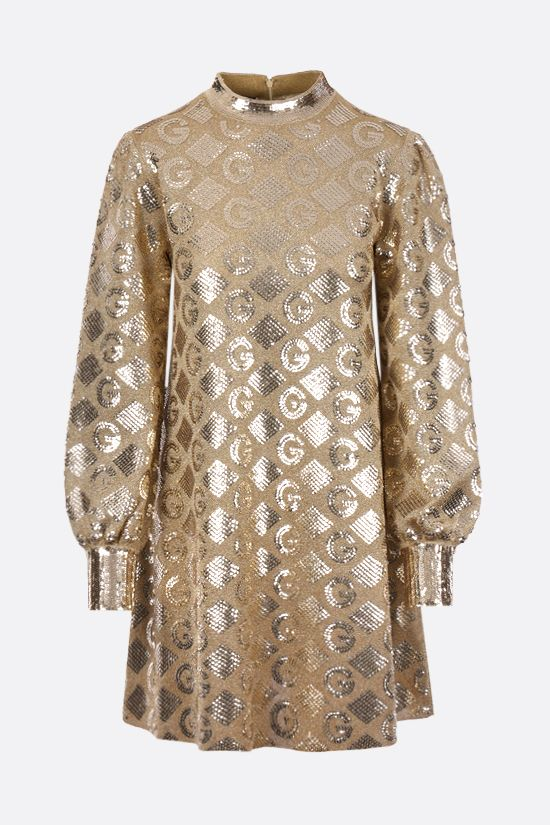 GUCCI: G rhombi lamè jacquard dress Color Gold_1