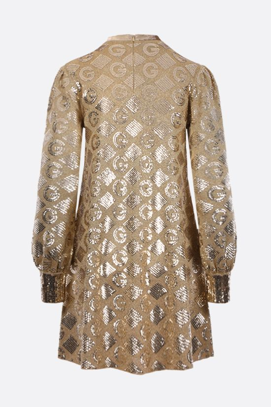 GUCCI: G rhombi lamè jacquard dress Color Gold_2