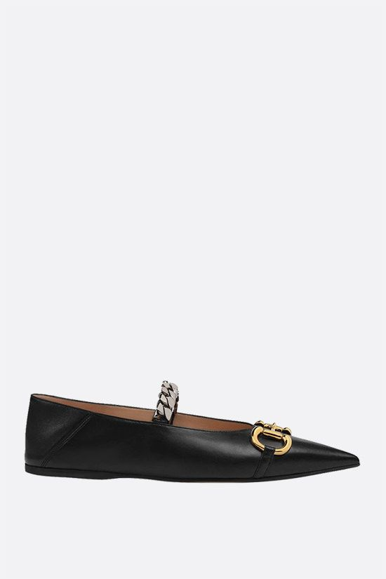 GUCCI: Horsebit-detailed smooth leather ballerinas Color Black_1