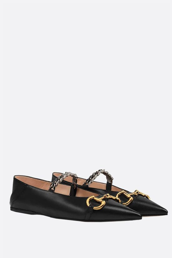 GUCCI: Horsebit-detailed smooth leather ballerinas Color Black_2