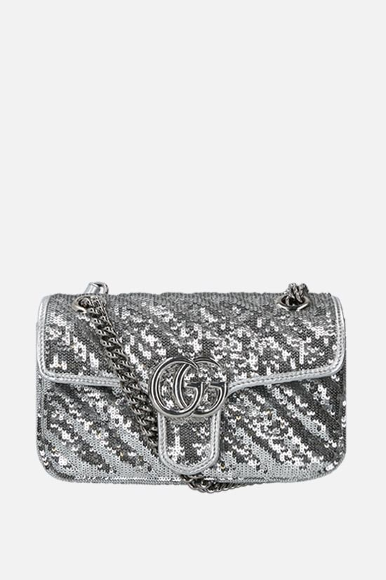 GUCCI: GG Marmont mini sequin shoulder bag Color Grey_1