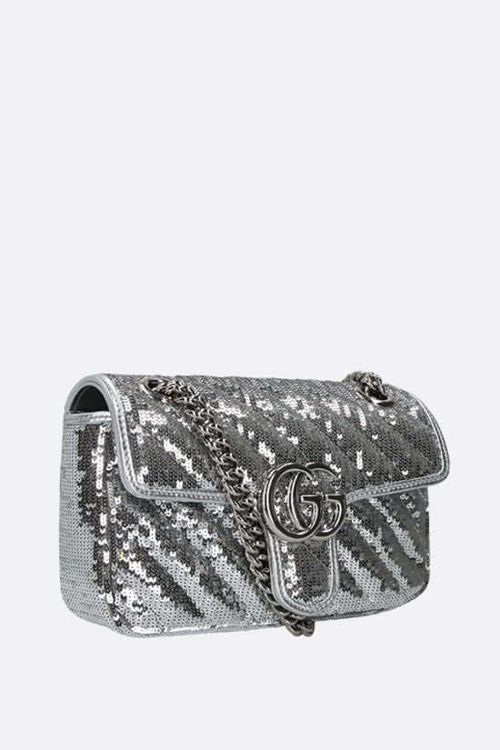 GUCCI: GG Marmont mini sequin shoulder bag Color Grey_2