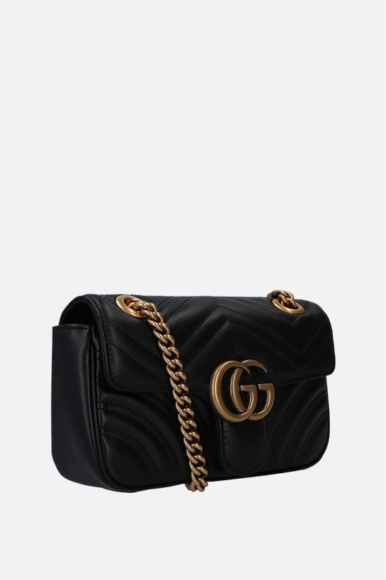GUCCI: GG Marmont mini quilted leather shoulder bag Color Black_2
