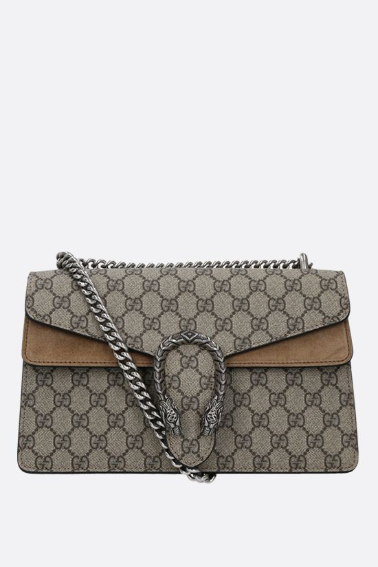 GUCCI: Dionysus GG small shoulder bag in GG Supreme canvas and suede Color Brown_1